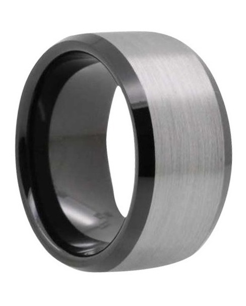 12 mm Mens Wedding Bands - Black Tungsten/Lifetime Warranty - B212BC