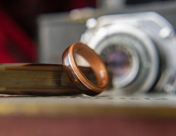 8 mm Cherry, Rosewood & Copper Inlay Bentwood Ring - BW320