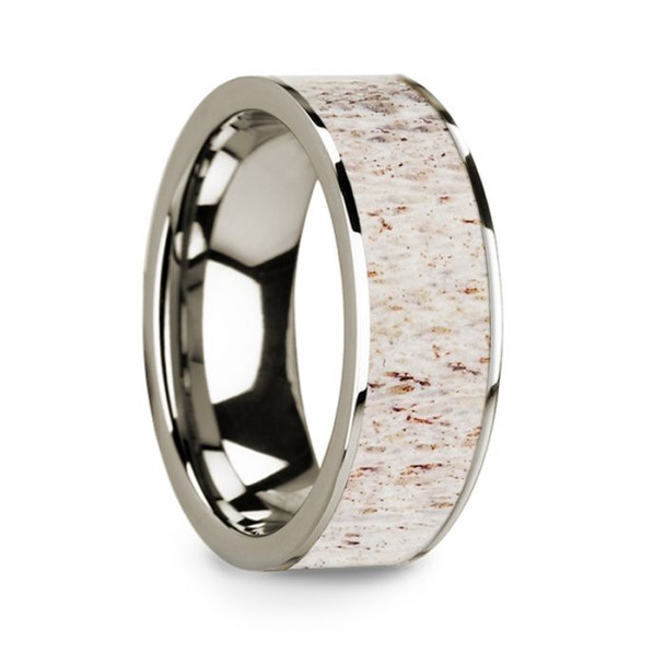 8 mm White Deer Antler Inlay in 14 Kt. White Gold - W279TR