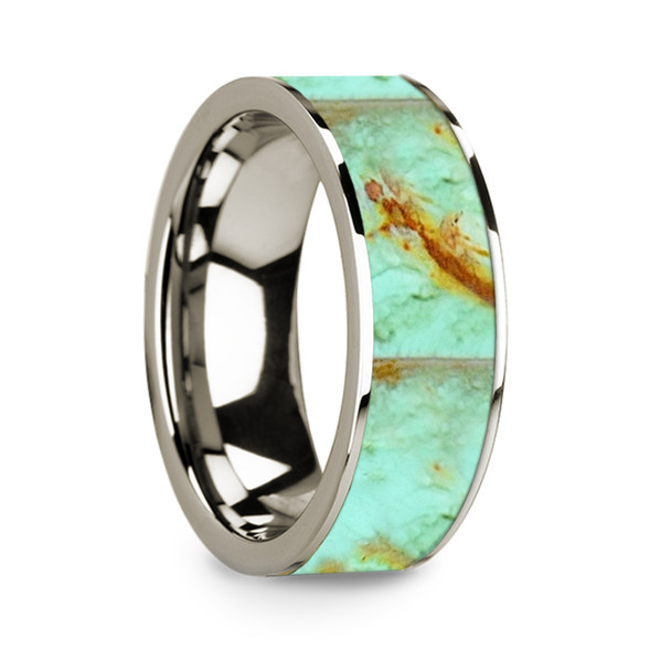 8 mm Turquoise Inlay in 14 Kt. White Gold - W708TR