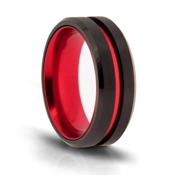 8 mm Black Tungsten Band with Red Sleeve Design - W901WG