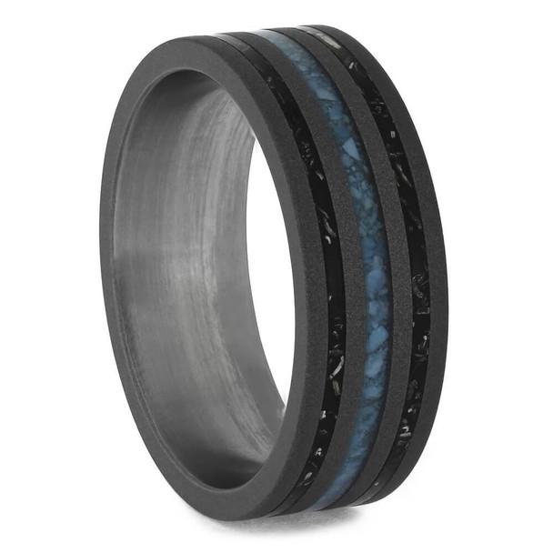 7.5 mm Black Stardust/Turquoise in Titanium - S607M