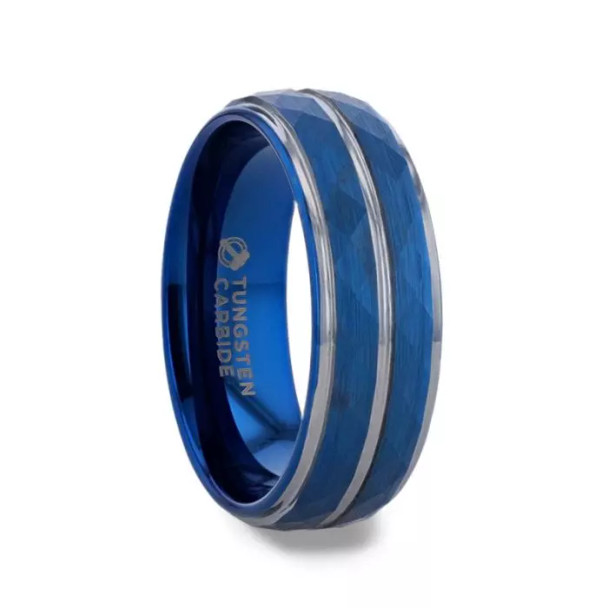 8 mm Tungsten Blue Faceted Wedding Band - BF127TR