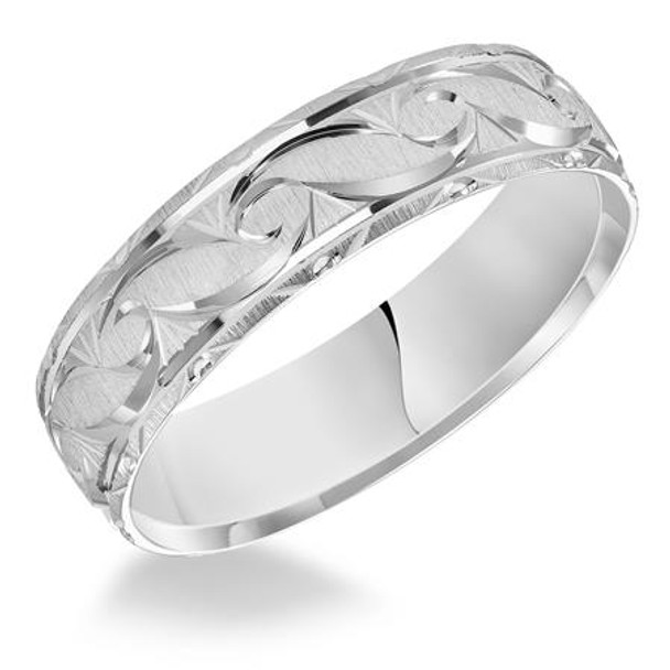 6 mm 10kt. White Gold Handcrafted in U.S. - Struga 10W