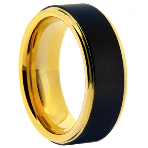 8 mm Black Tungsten/Yellow Gold Wedding Bands - M713WG
