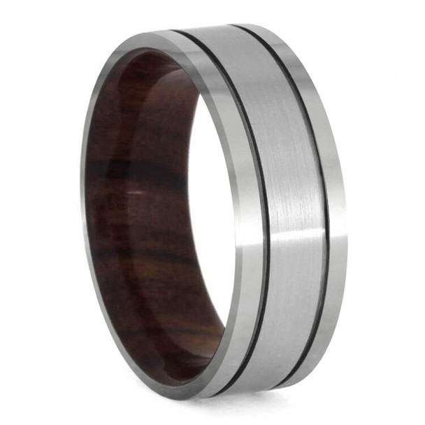 8 mm Mens Wedding Bands - Rosewood Sleeve/Titanium - TT100M