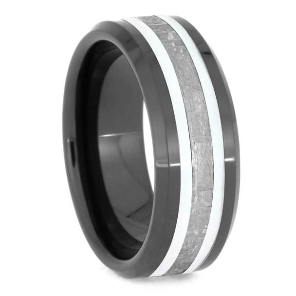 8 mm Mens Wedding Bands with Black Ceramic/Meteorite - BC630M