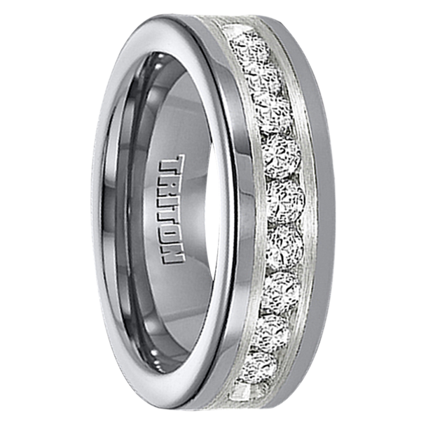 1 cwt Diamond Unique Mens Wedding Bands in Silver/Tungsten - A308C