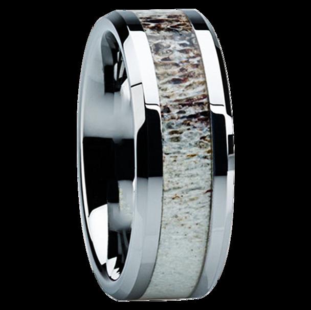 8 mm Antler Mens Wedding Bands in Titanium  - C121M
