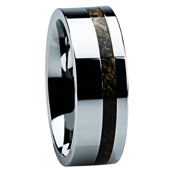 8 mm Unique Mens Wedding Bands in Titanium with 2 mm Buckeye Wood Inlay - B122M
