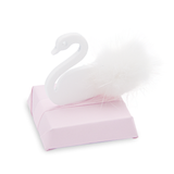 Swan standing decorated chocolate square with pink ribbon