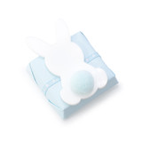 SQUARE CHOCOLATE DOUBLE WRAPPED BLUE WITH ACRYLIC FLAT BUNNY WITH BLUE COTTON BALL TAIL