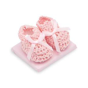 CROCHET BOOTIES - Decorated Chocolate / PINK