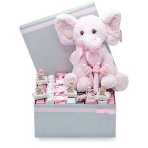 HAPPY PINKY- Collection Arrangement - MEDIUM at 2.5lb with pink white and silver individually wrapped chocolates