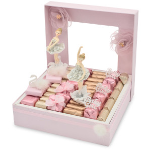Chocolate gift box with ballerina and swans theme with ivory and pink wrapped chocolates