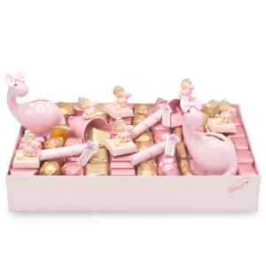 Small Dinosaur theme Baby Girl Chocolate Gift Box in Ivory and Pink with two pink dino banks