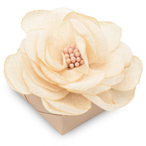 RUSTIC BEIGE - Cloth Flower Decorated Chocolate Favor