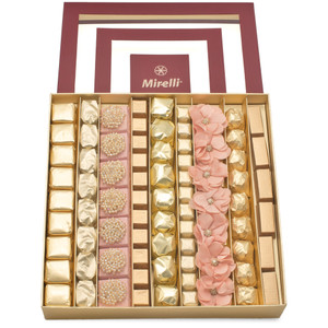 BLUSH LOVE Burgundy Window Gift Box open with rows of ivory and beige chocolates with two rows of decorated MOONSTONE and ORGANZA