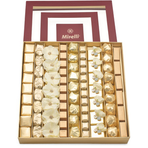 BLUSH LOVE Burgundy Window Gift Box open with rows of ivory and beige chocolates with two rows of decorated ORGANZA and FIORE