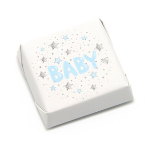"""Baby"" in blue with silver stars on white paper double wrapped square chocolate. 2 inches by 2 inches"