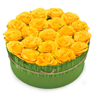 Yellow Mulberry paper flower box closed