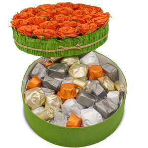ROSE FLOWER GIFT BOX / ORANGE -  Assorted Belgian Chocolate / 1.6 lb