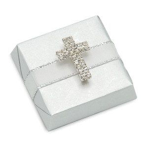 Decorated Chocolate Silver Wrap w/Rhinestone Cross