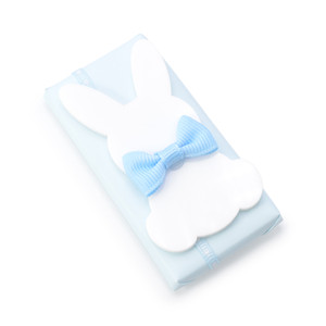RECTANGLE FLAT CHOCOLATE DOUBLE WRAPPED WITH ACRYLIC FLAT BUNNY WITH BOW TIE