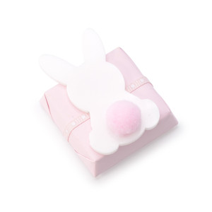 SQUARE CHOCOLATE DOUBLE WRAPPED PINK WITH ACRYLIC FLAT BUNNY WITH PINK COTTON BALL TAIL
