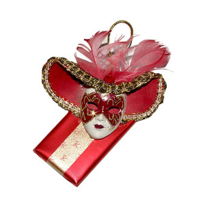 Decorated Chocolate Bar Venetian mask Red