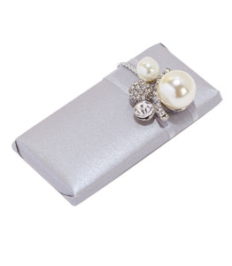Decorated Chocolate Pearl Embellishment Wrapped in Pearlized Grey