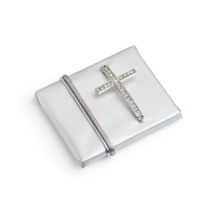 Decorated Chocolates Christening w/Rhinestone Silver Plated Cross