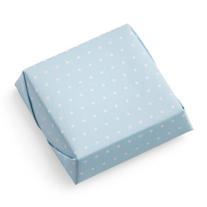 Square Chocolate Bar/Wrapped in White Polka Dot Blue