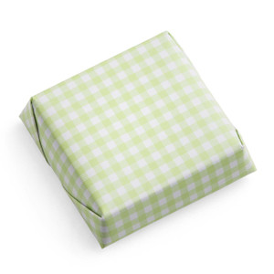 Square Chocolate Bar/Wrapped in Pastel Green-White Checkered