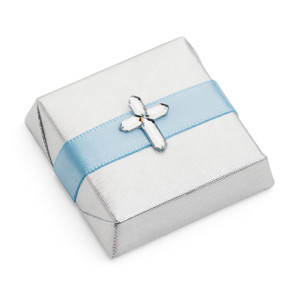 Christening decorated chocolate with acrylic cross motif
