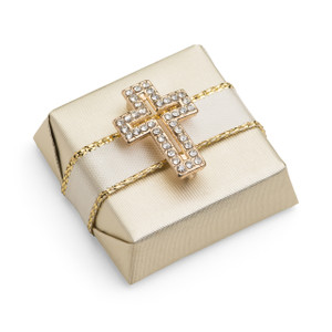 Decorated Chocolate Gold Wrap w/Rhinestone Cross