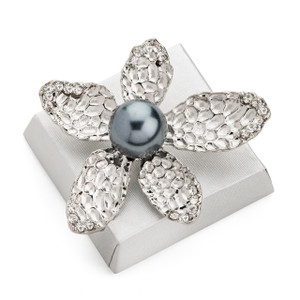 Silver Blossom Decorated Chocolate Squares