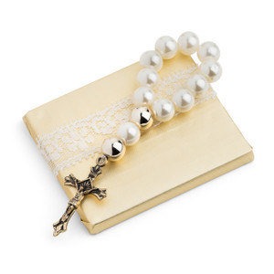 Christening Decorated Chocolate W/ Mini Imitation Pearl Rosary Cross