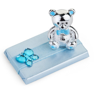 Rectangle Chocolate Bar Teddy Bear Motif/Blue