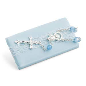 Christening Light Blue Chocolate W/ Mini Rosary Cross Bracelet