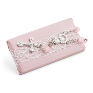 Christening Light Pink Chocolate W/ Mini Rosary Cross Bracelet