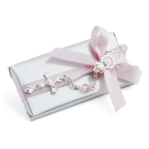 Christening Light Gray Chocolate W/ Mini Rosary Cross Bracelet