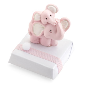 Decorated Chocolate Elephant Mother and Daughter Magnet/Pink