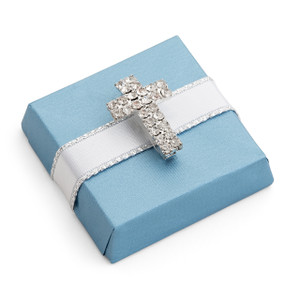 Decorated Chocolate Gold Wrap w/Rhinestone Cross-Blue