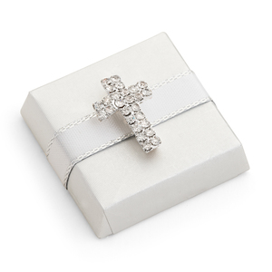 Decorated Chocolate Gold Wrap w/Rhinestone Cross-White