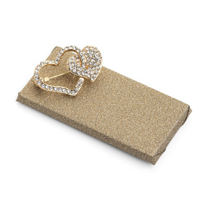 Wedding Chocolate Favor/Two Heart Rhinestone Gold Plated Brooch