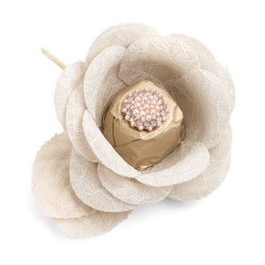 BLOOMLIGHT-Wedding Organza Lace Flower Chocolate Favor/Center Lobe Beige