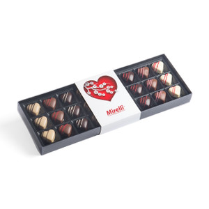 Heart-shaped chocolates variety black box with white sleeve