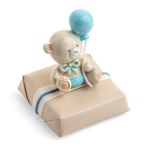 BLUE BALOON TEDDY- Decorated Chocolate Square