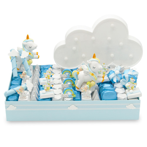 Small blue tray filled with alternating rows of blue white and silver individually wrapped chocolates with unicorn and sleepy joey theme with light up cloud